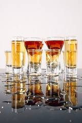 Shooters with whiskey, tequila and rum