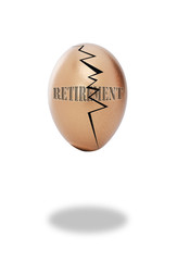 Golden cracked retirement egg.