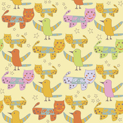 Cute repeating pattern with cats and birds; kid's drawing