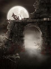 Fototapeta Mroczne ruiny ze szkieletem obraz