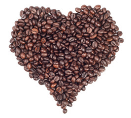 Heart made with coffee beans isolated on white