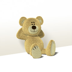 Nhi Bear Leans against Wall, Side