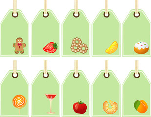concept tags icons - food elements