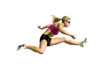 Athlete Jumping Against a White Background