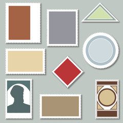 Set of Blank Postage Stamps