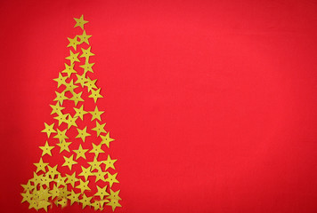 red bacground with stars tree for Christmas