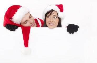 ihr text auf der weihnachtstafel mann und frau weihnachten