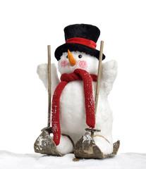 cute snowman on skis