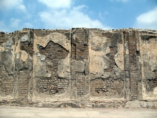 Ancient ruined wall in Pompei