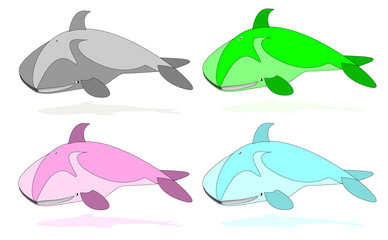 set of whales, different colors vector illustration