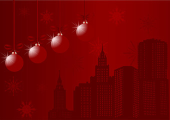 red city and snowflakes illustration