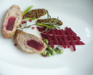 Meat roll stuffed with beets
