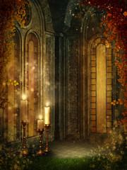 Fototapeta Gotycka komnata z bluszczem i świecami obraz