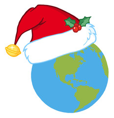 Christmas Earth Wearing A Santa Hat