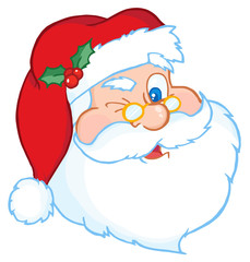 Santa Claus Winking Classic Cartoon Head