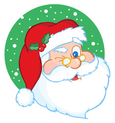 Santa Claus Winking Classic Cartoon Character