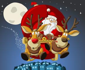 Santa-Claus on sleigh with reindeers