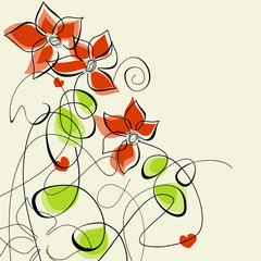 Tuinposter Abstract bloemen Floral romantic greeting card