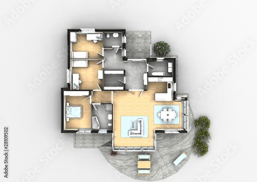 Moderne villa grundriss 3d  3d grundriss perspektive