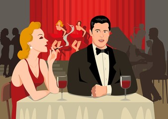 Stock illustration of a couple at the restaurant