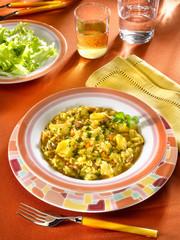 risotto au safran, haricots et morue