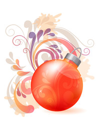 Christmas design element with red ball