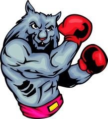 Grey wolf in red boxing gloves. Sport mascot animals.