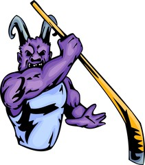 Demon with a hockey stick. Sport mascot animals.