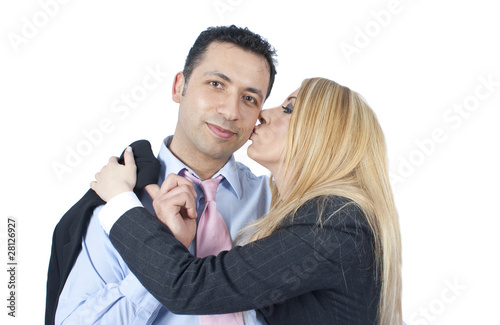 Wife Kissing Her Husband