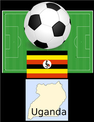 Uganda soccer football sport world flag map
