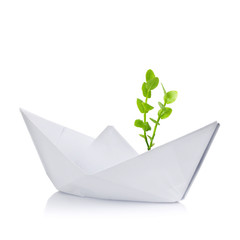 Paper ship with small green plant inside on white background