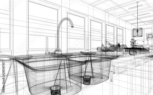 Lavandino cucina rendering 3d disegno wire immagini e for Disegnare cucina 3d gratis