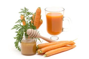 carrots juice, fresh carrots and honey