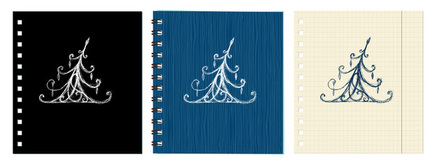 Sketch of christmas pine ornament on notebook cover and sheet