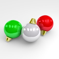 Green, white and red christmas balls.