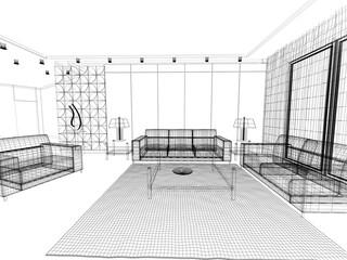 salotto rendering 3d divano illustrazione disegno interior