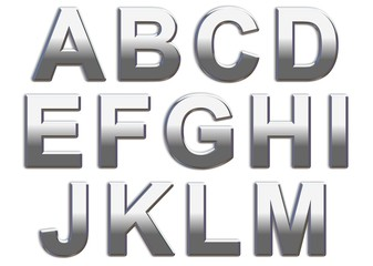Chrome Capital Letters On White