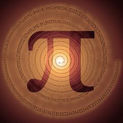 greek letter pi over spiral made of pi figures