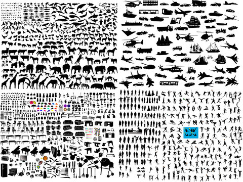 hundreds mix silhouette - vector