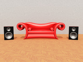 Rotes Sofa mit Musikboxen