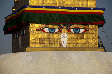 Buddha's eyes. Boudnath stupa, Kathmandu