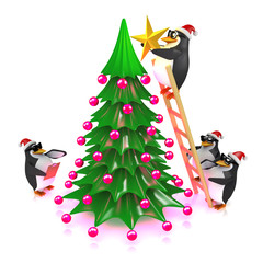 3d Penguins decorate the Christmas tree