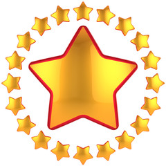 Golden star with little stars arranged as circle border around