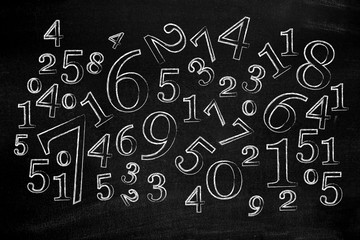 Numbers on blackboard