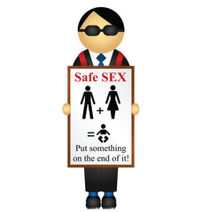advertising sandwich board with safe sex message