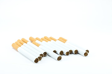 a bunch of cigarettes isolated on white