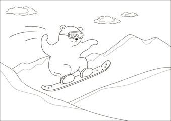 Teddy bear on a snowboard, contours