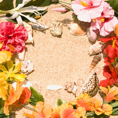 Tropical Flowers on sand