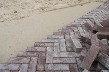herringbone pattern pavement