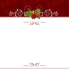 Christmas greeting card with holly berry decoration